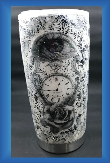 Stainless Steel Black/White Glitter Tumbler